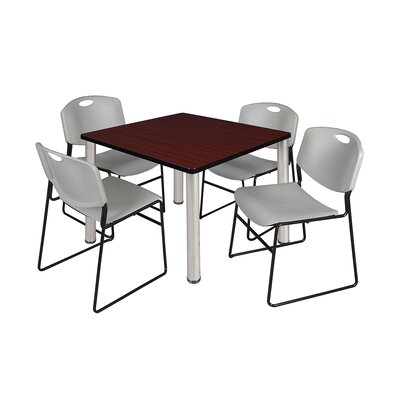 Kee Square Table Size: 29 H x 36 W x 36 D, Base Finish: Chrome, Top Finish: Mahogany