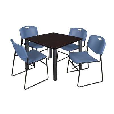 Kee Square Table with 4 Zeng Chairs Base Finish: Black, Size: 29 H x 36 W x 36 D, Top Finish: Mocha Walnut