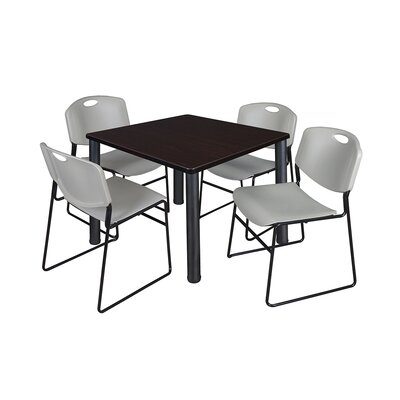 Kee Square Table Base Finish: Black, Size: 29 H x 36 W x 36 D, Top Finish: Mocha Walnut