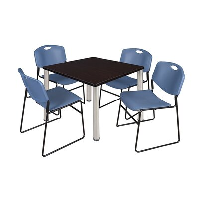Kee Square Table with 4 Zeng Chairs Size: 29 H x 36 W x 36 D, Base Finish: Chrome, Top Finish: Mocha Walnut