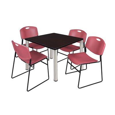 Kee Square Table Size: 29 H x 36 W x 36 D, Base Finish: Chrome, Top Finish: Mocha Walnut