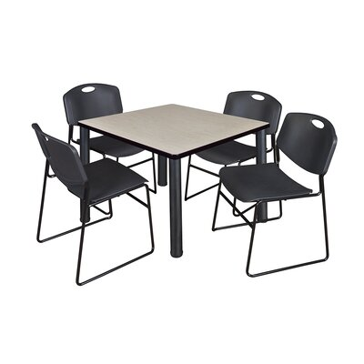 Kee Square Table with 4 Zeng Chairs Base Finish: Black, Size: 29 H x 36 W x 36 D, Top Finish: Maple