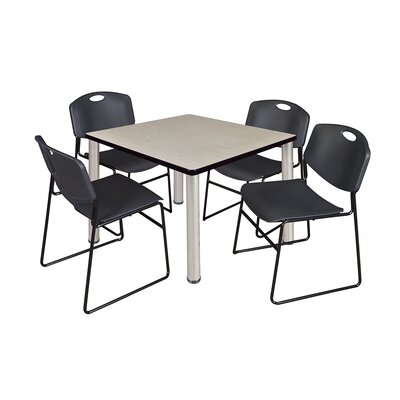 Kee Square Table with 4 Zeng Chairs Size: 29 H x 36 W x 36 D, Base Finish: Chrome, Top Finish: Maple