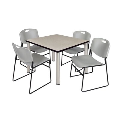 Kee Square Table Size: 29 H x 36 W x 36 D, Base Finish: Chrome, Top Finish: Maple