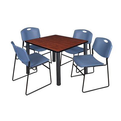 Kee Square Table with 4 Zeng Chairs Base Finish: Black, Top Finish: Cherry, Size: 29 H x 42 W x 42 D