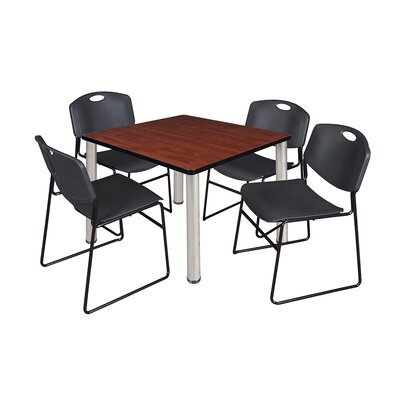 Kee Square Table with 4 Zeng Chairs Top Finish: Cherry, Base Finish: Chrome, Size: 29 H x 42 W x 42 D
