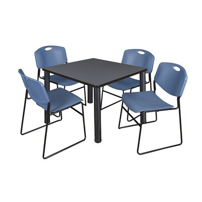 Kee Square Table with 4 Zeng Chairs Base Finish: Black, Top Finish: Grey, Size: 29 H x 42 W x 42 D