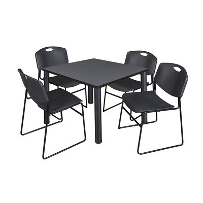 Kee Square Table with 4 Zeng Chairs Base Finish: Black, Size: 29 H x 42 W x 42 D, Top Finish: Grey