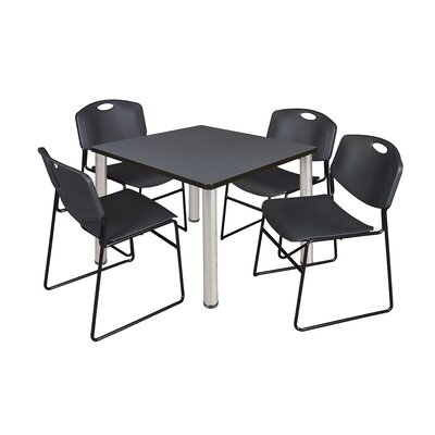 Kee Square Table with 4 Zeng Chairs Base Finish: Chrome, Size: 29 H x 42 W x 42 D, Top Finish: Grey