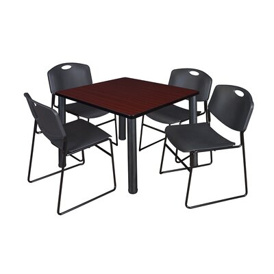 Kee Square Table with 4 Zeng Chairs Base Finish: Black, Size: 29 H x 42 W x 42 D, Top Finish: Mahogany