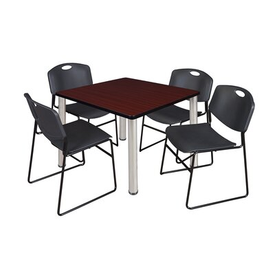 Kee Square Table with 4 Zeng Chairs Base Finish: Chrome, Size: 29 H x 42 W x 42 D, Top Finish: Mahogany