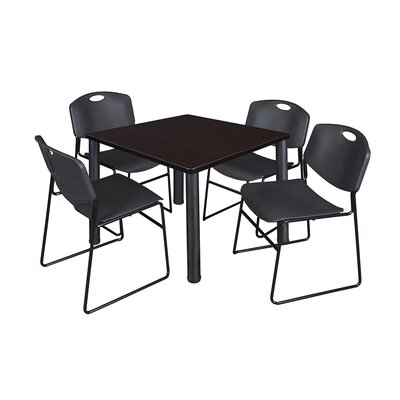 Kee Square Table with 4 Zeng Chairs Base Finish: Black, Size: 29 H x 42 W x 42 D, Top Finish: Mocha Walnut