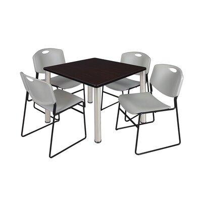 Kee Square Table Base Finish: Chrome, Size: 29 H x 42 W x 42 D, Top Finish: Mocha Walnut