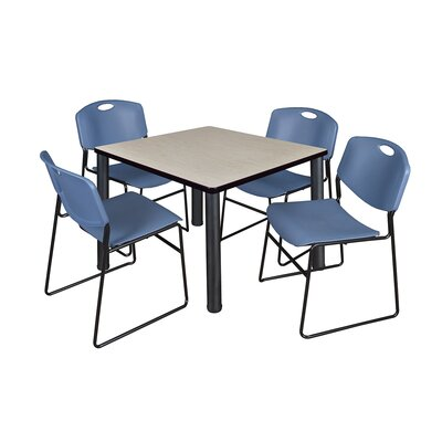 Kee Square Table with 4 Zeng Chairs Base Finish: Black, Size: 29 H x 42 W x 42 D, Top Finish: Maple
