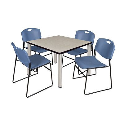 Kee Square Table with 4 Zeng Chairs Base Finish: Chrome, Size: 29 H x 42 W x 42 D, Top Finish: Maple