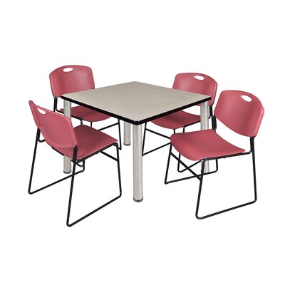 Kee Square Table Base Finish: Chrome, Size: 29 H x 42 W x 42 D, Top Finish: Maple