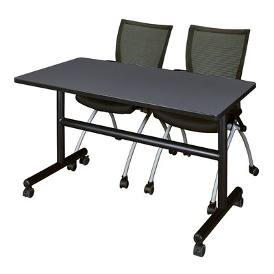 Kobe Training Table with Chairs Size: 29 H x 60 W x 24 D, Tabletop Finish: Gray/Black