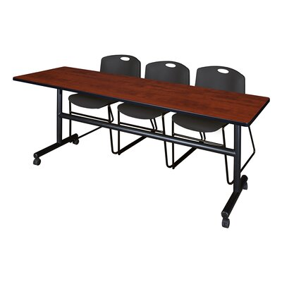 84 W Kobe Training Table with Chairs Tabletop Finish: Cherry/Black