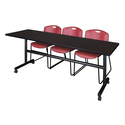 84 W Kobe Training Table with Chairs Tabletop Finish: Mocha Walnut/Burgundy