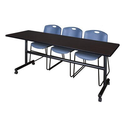 84 W Kobe Training Table with Chairs Tabletop Finish: Mocha Walnut/Blue
