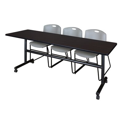 84 W Kobe Training Table with Chairs Tabletop Finish: Mocha Walnut/Gray