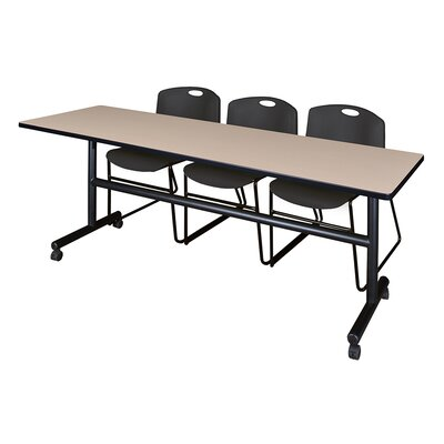 84 W Kobe Training Table with Chairs Tabletop Finish: Beige/Black