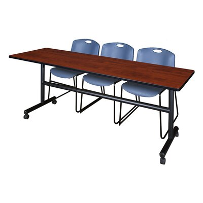84 W Kobe Training Table with Chairs Tabletop Finish: Cherry/Blue