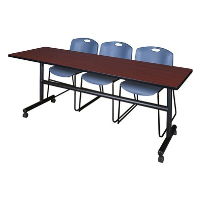 84 W Kobe Training Table with Chairs Tabletop Finish: Mahogany/Blue