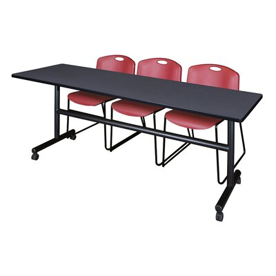 84 W Kobe Training Table with Chairs Tabletop Finish: Gray/Burgundy