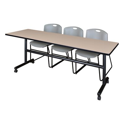 84 W Kobe Training Table with Chairs Tabletop Finish: Beige/Gray