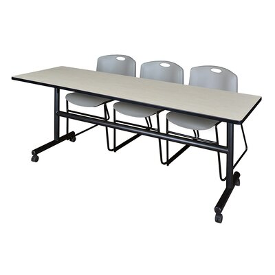 84 W Kobe Training Table with Chairs Tabletop Finish: Maple/Gray