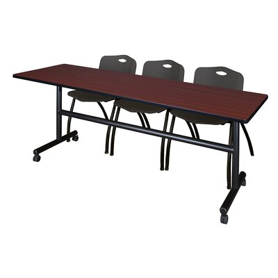 84 W Kobe Training Table with Chairs Tabletop Finish: Mahogany/Black