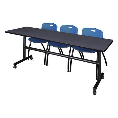 84 W Kobe Training Table with Chairs Tabletop Finish: Gray/Blue