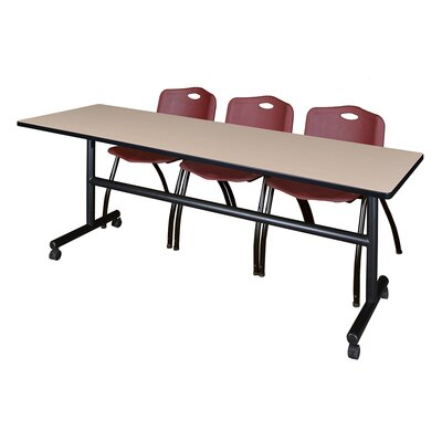 84 W Kobe Training Table with Chairs Tabletop Finish: Beige/Burgundy