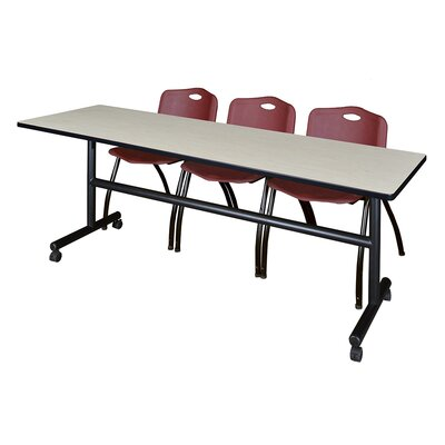 84 W Kobe Training Table with Chairs Tabletop Finish: Maple/Burgundy