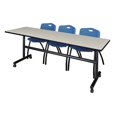 84 W Kobe Training Table with Chairs Tabletop Finish: Maple/Blue