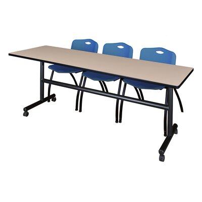 84 W Kobe Training Table with Chairs Tabletop Finish: Beige/Blue
