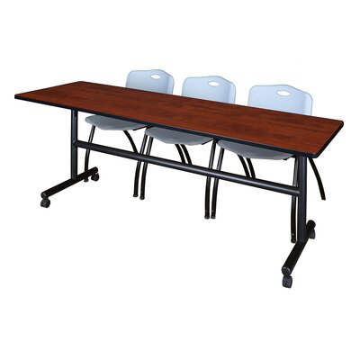 84 W Kobe Training Table with Chairs Tabletop Finish: Cherry/Gray