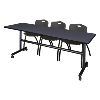 84 W Kobe Training Table with Chairs Tabletop Finish: Gray/Black