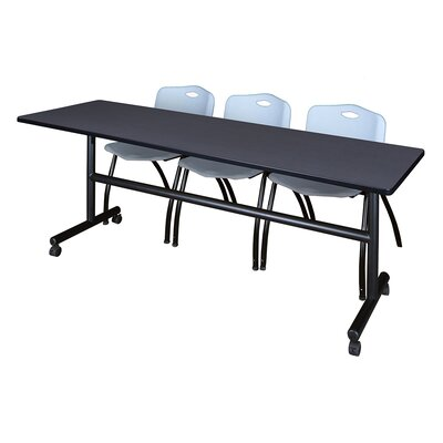 84 W Kobe Training Table with Chairs Tabletop Finish: Gray/Gray