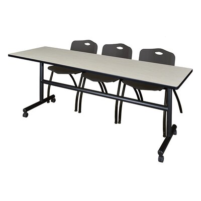 84 W Kobe Training Table with Chairs Tabletop Finish: Maple/Black