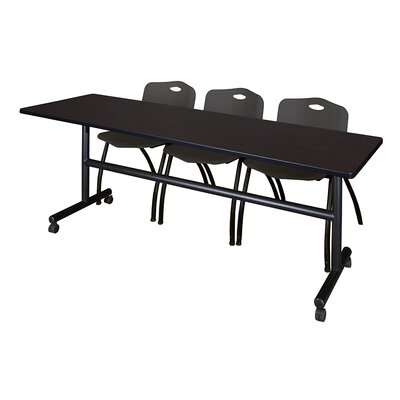 84 W Kobe Training Table with Chairs Tabletop Finish: Mocha Walnut/Black