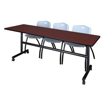 84 W Kobe Training Table with Chairs Tabletop Finish: Mahogany/Gray