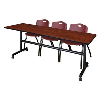 84 W Kobe Training Table with Chairs Tabletop Finish: Cherry/Burgundy
