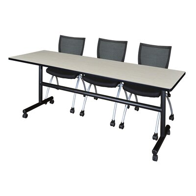 84 W Kobe Training Table with Chairs Tabletop Finish: Maple