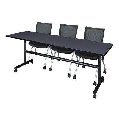 84 W Kobe Training Table with Chairs Tabletop Finish: Gray
