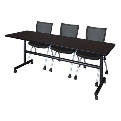 84 W Kobe Training Table with Chairs Tabletop Finish: Mocha Walnut