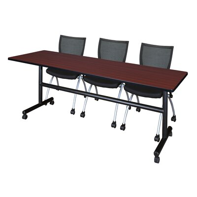 84 W Kobe Training Table with Chairs Tabletop Finish: Mahogany