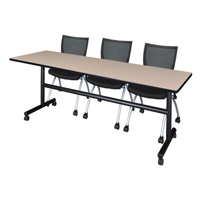 84 W Kobe Training Table with Chairs Tabletop Finish: Beige
