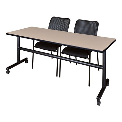 Kobe Training Table with Chairs Size: 29 H x 72 W x 24 D, Tabletop Finish: Mocha Walnut